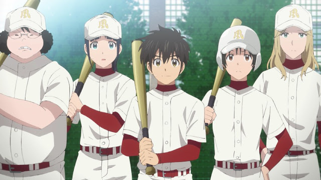 baseball team, white shirt, white cap, baseball bat, a girl, fat guy, handsome guy, thin guy, tall guy, red sleeves, baseball jersey, a baseball team