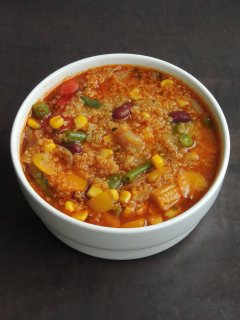 Vegan & Gluten Free Vegetable & Kidney Beans  Quinoa Soup