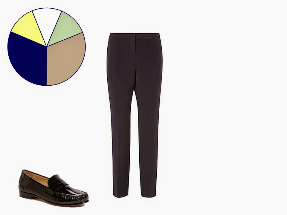 navy women's trousers with classic black penny loafers