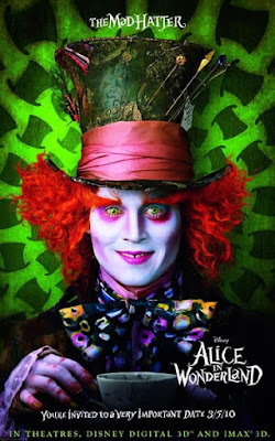 'Alice in Wonderland' poster with close-up look at the garishly made up and wide-eyed face of the Mad Hatter sporting a tall hat