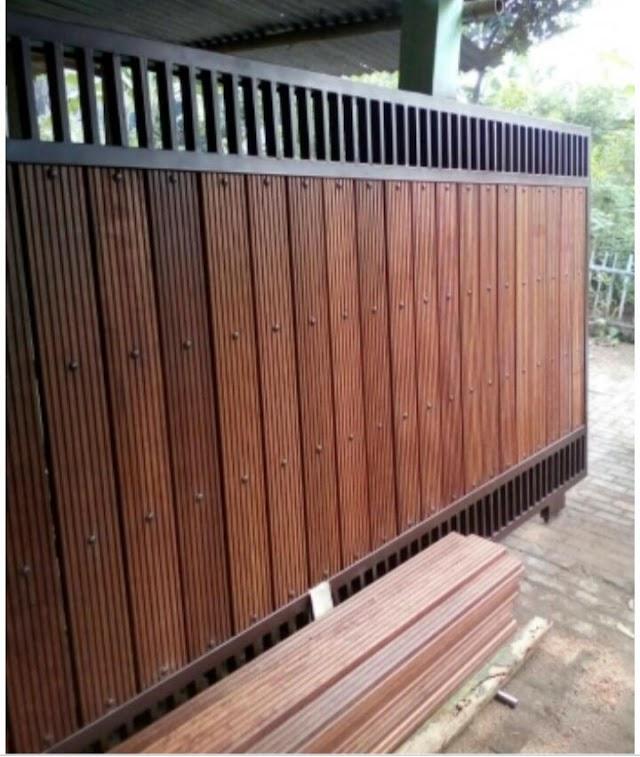 model+harga pagar kayu besi minimalis murah