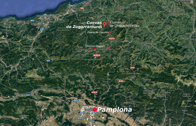 Situación de las cuevas de Zugarramurdi, Navarra