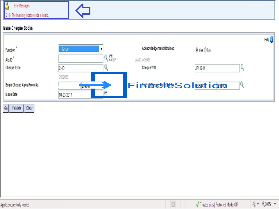 error the inventory location code is invalid comes when issuing