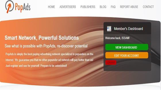 شرح موقع popads للإعلانات المنبثقة
