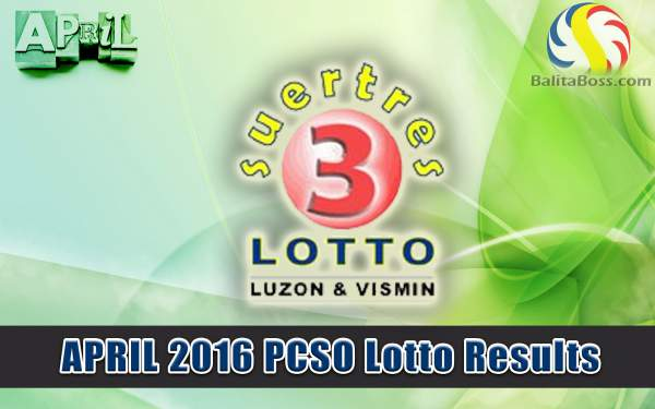 Image: April 2016 PCSO Suertres Lotto