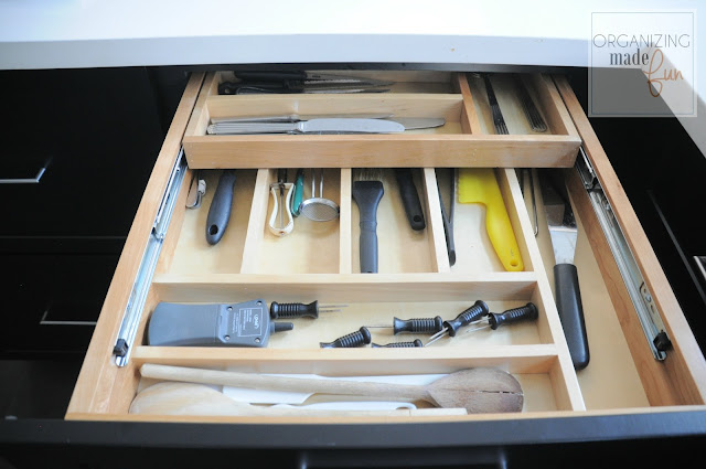Organized flatware drawer with tiered divider :: OrganizingMadeFun.com