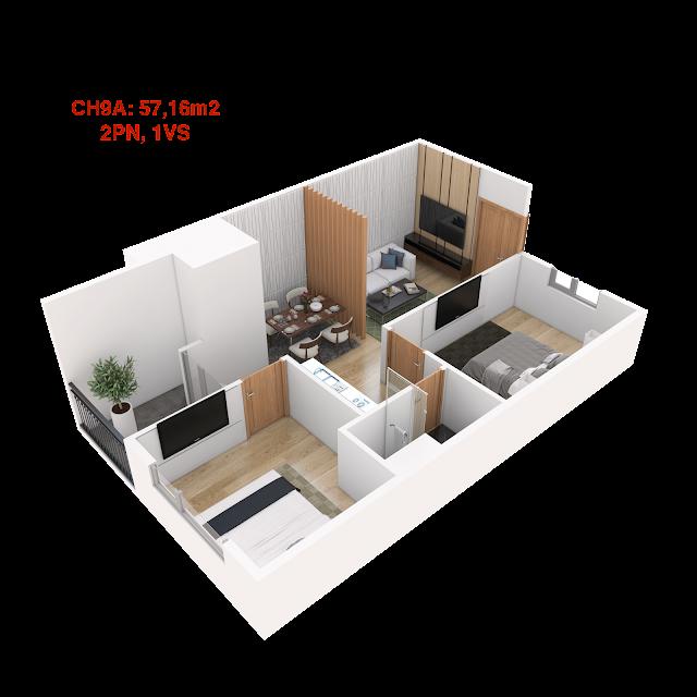 Thiết kế căn hộ 09A tháp doanh nhân