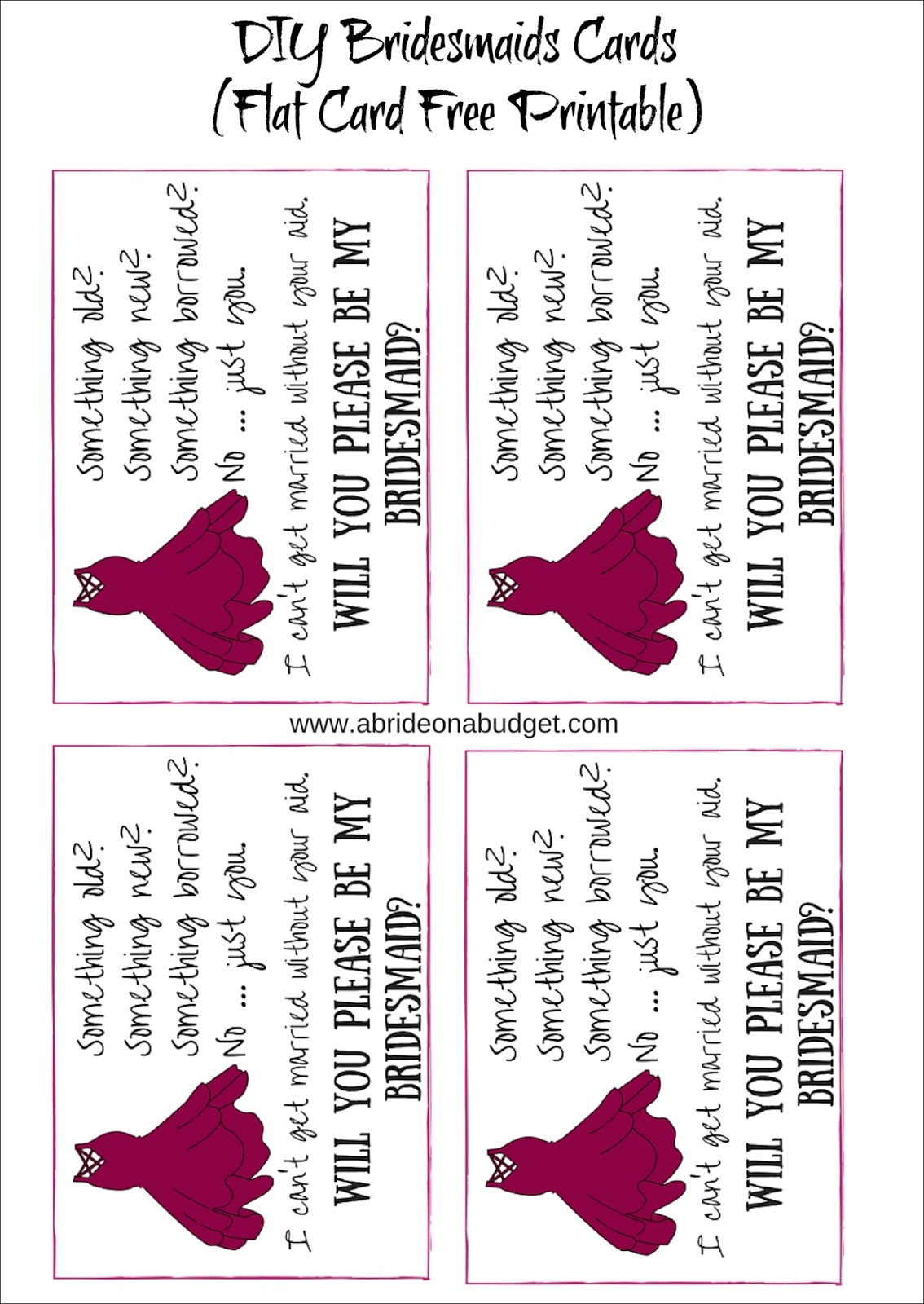 picture about Free Printable Bridesmaid Proposal identified as Do-it-yourself Bridesmaids Playing cards (In addition a absolutely free printable for flat and