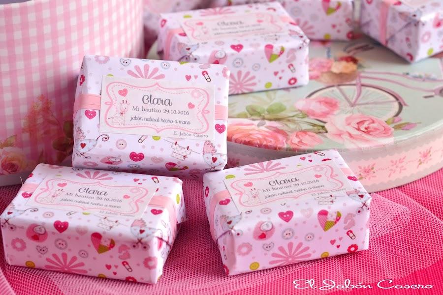 Detalles para bautizos en rosa jabones personalizados el jabon casero