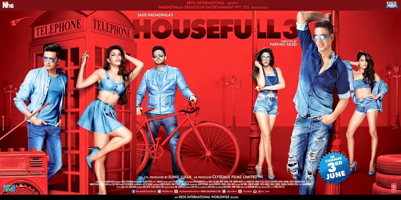 full cast and crew of bollywood movie Housefull 3 2016 wiki, Akshay Kumar, Abhishek Bachchan, Riteish Deshmukh, Jacqueline Fernandez, Amy Jackson and Elli Avram story, release date, Actress name poster, trailer, Photos, Wallapper