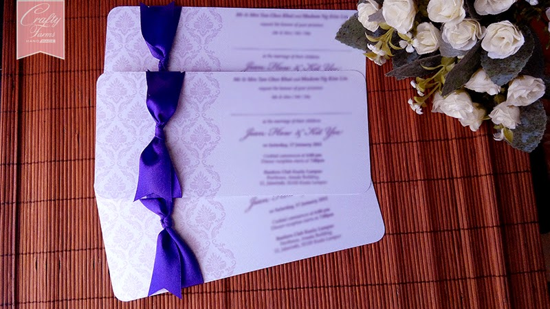Purple Wedding Card With Ribbon Knot
