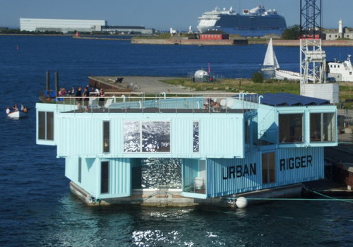Tinuku.com BIG piled container Urban Rigger for cheap student hostel in Copenhagen harbor