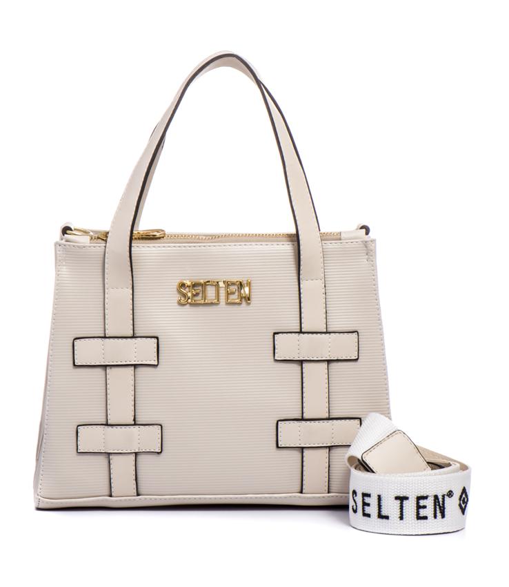 7bb638533 Bolsa Feminina Selten de Mão com Alça Transversal Branca - Selten Bolsas