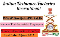 Ordnance Factory Board Recruitment 2017- 5186 Post for Industrial Employees (Semi-Skilled) & Labour Group