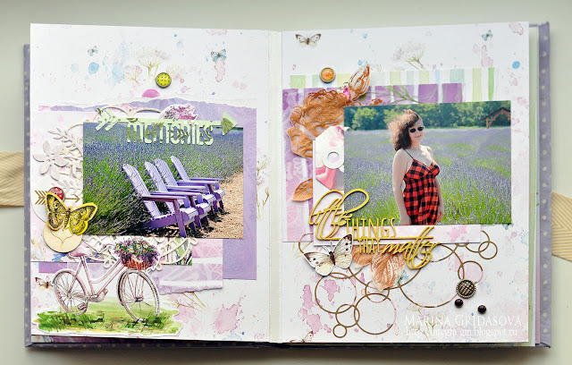 lavender album | GD on Magic of creative manufacturer @akonitt #album #minialbum #by_marina_gridasova #eyeletoutlet #magicofcreative #enamels #enameldots #paper #scrapbooking
