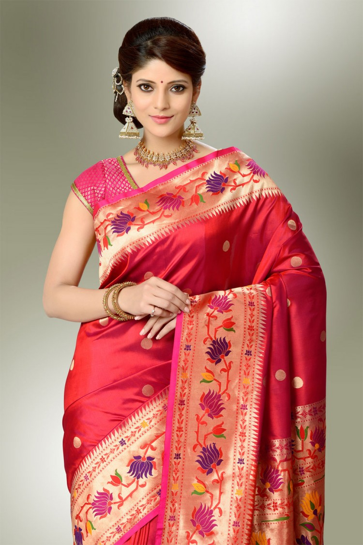 Saree Market Paithani Saree Maroon Colour