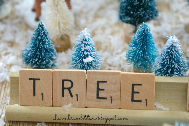 "Vintage Scrabble game tiles spelling ""Tree"" in Tree Farm"