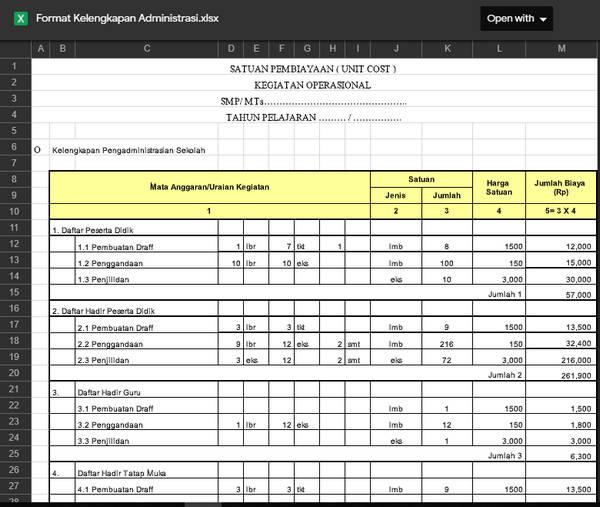 Aplikasi Biaya Kelengkapan Administrasi Sekolah