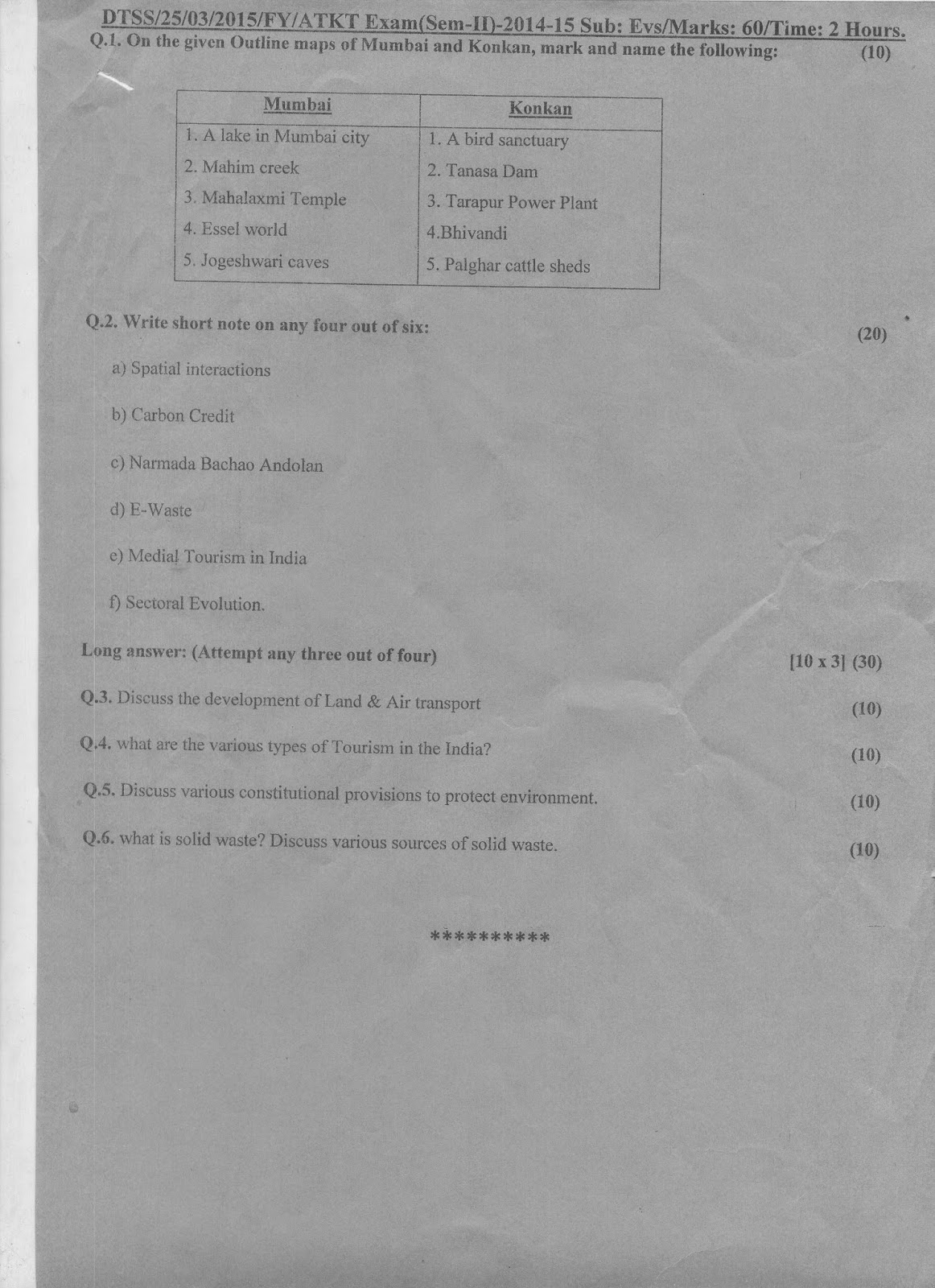 Question Papers Collection: FY ATKT Sem II, 2014-15