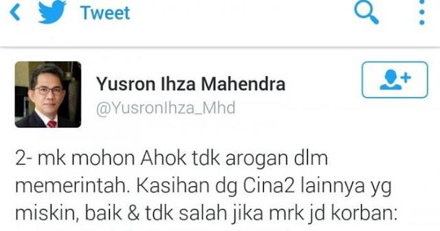 Ahok Kecam Cuitan Yusron Ihza Mahendra yang Berbau SARA