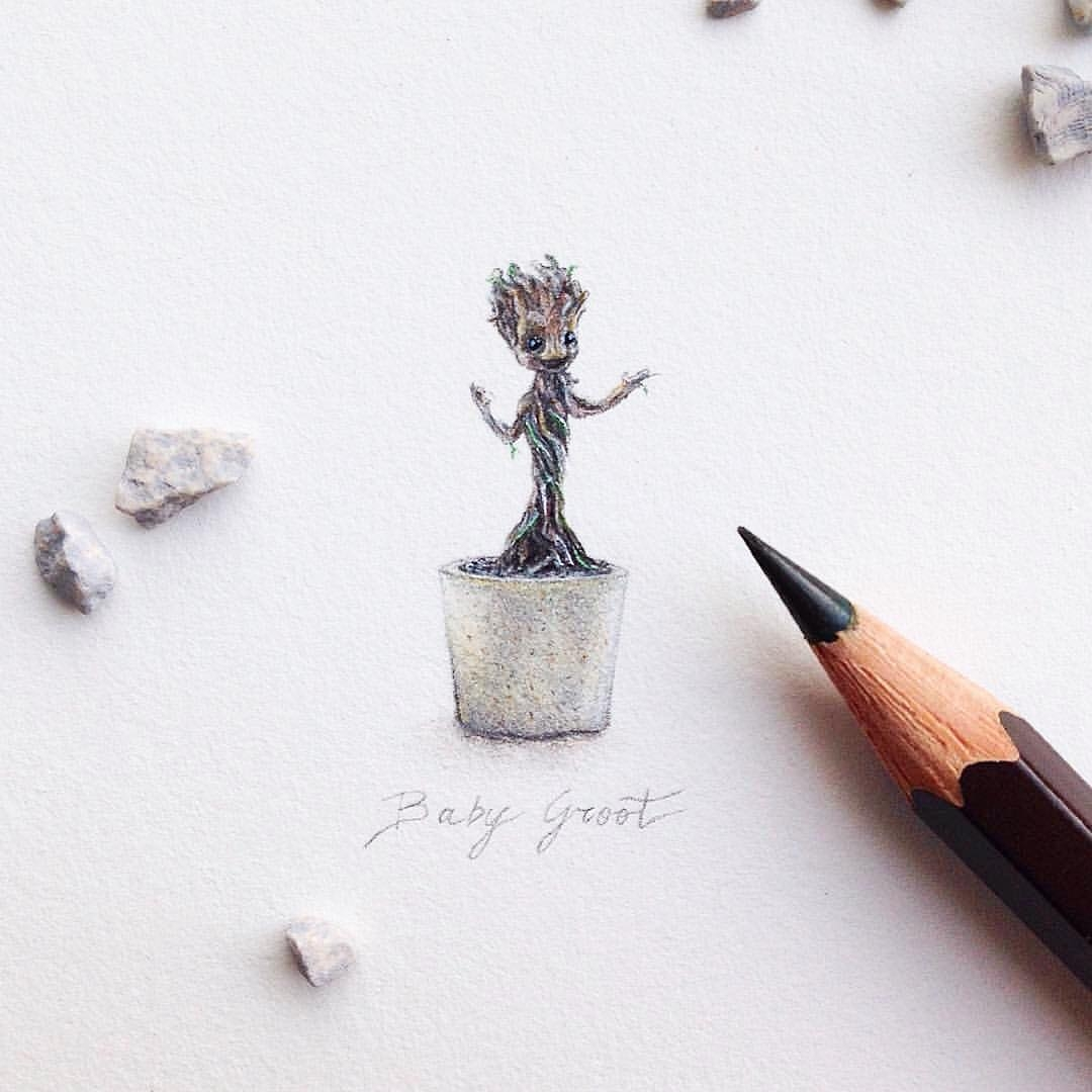 06-Baby-Groot-Guardians-Of-The-Galaxy-Vol-2-Claudia-Maccechini-Miniature-Tiny-Drawings-www-designstack-co