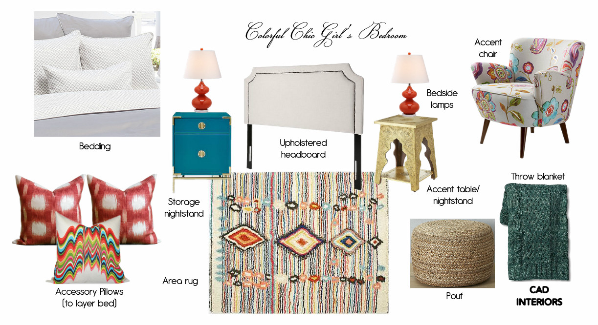 e-design mood design board interior design girls room guest bedroom boho chic bohemian eclectic transitional design