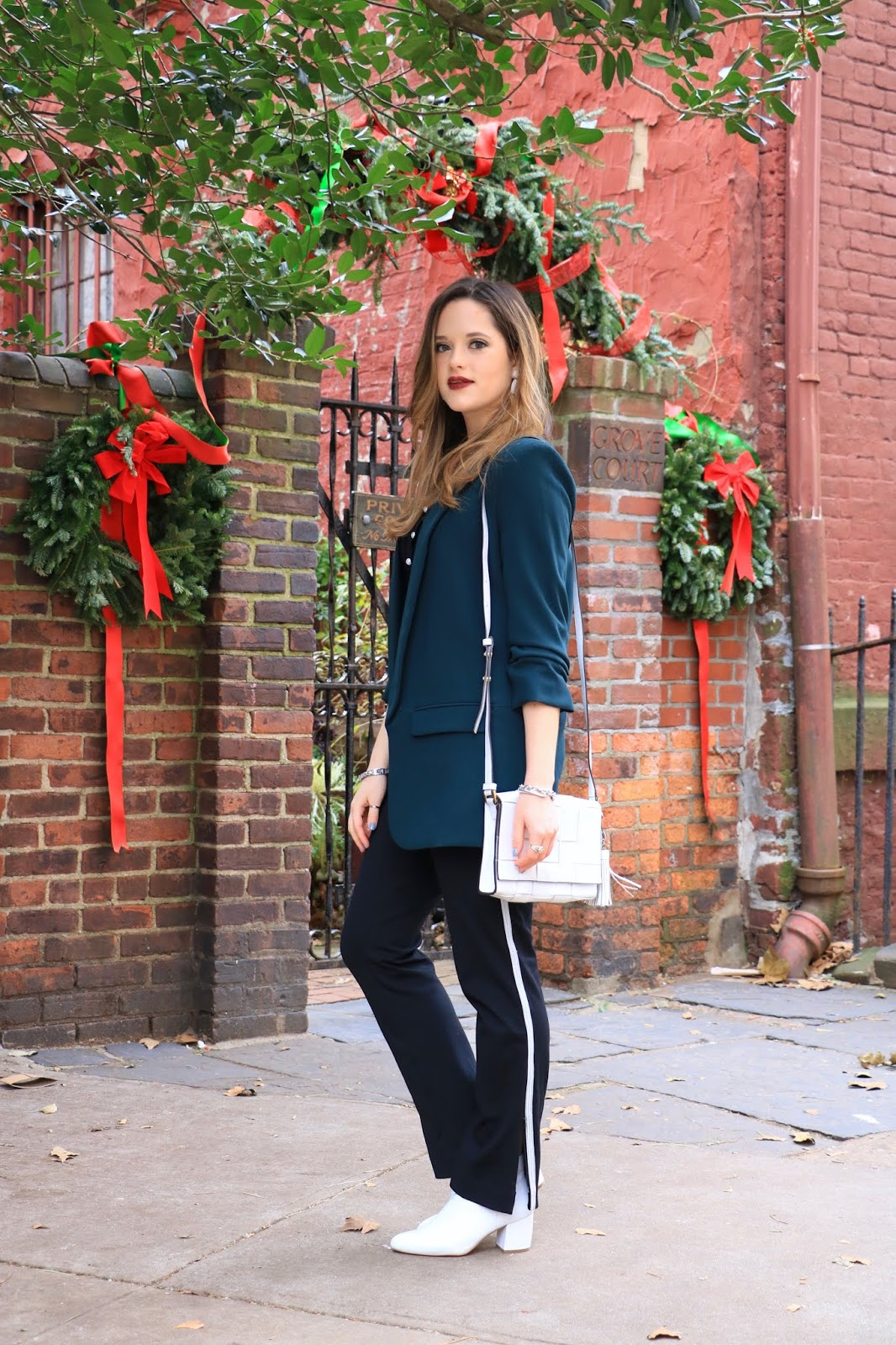 Nyc fashion blogger Kathleen Harper's holiday party outfit with pants