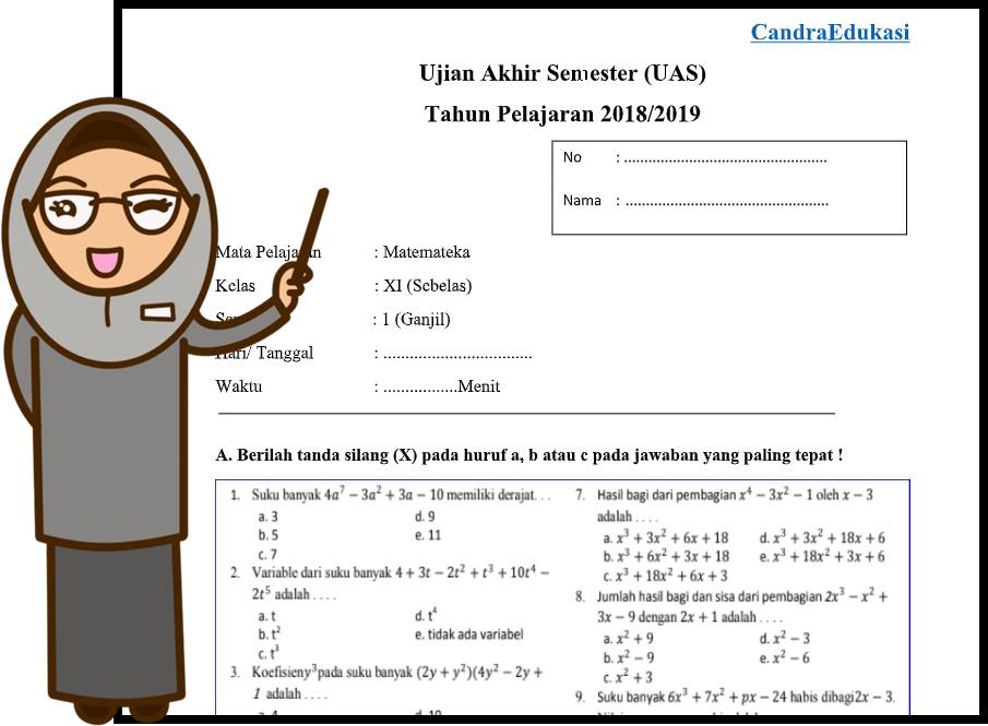 Soal Uas Matematika Peminatan Kelas Xi Semester 1 Teori Dan Soal