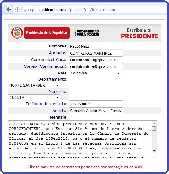 CorpoFrontera le escribe al Presidente de Colombia Juan Manuel Santos Calderón #OngCF #RSY