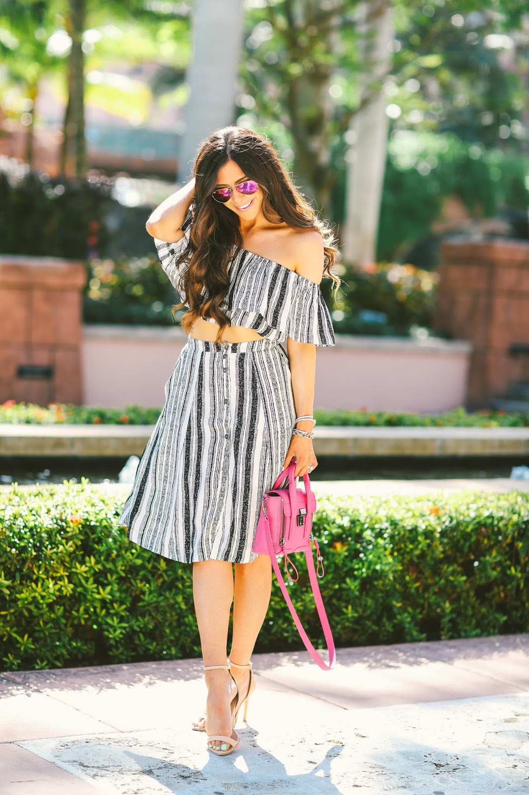 pink ray ban aviators, fuchsia ray ban aviators, ASTR two piece set, striped skirt and crop top outfit, pink phillip lim mini, fushica phillip lim mini, atlantis bahamas, emily gemma blog, the sweetest thing, phillip lim pashli mini, brunette balayage, bellami balayage extensions, henri daussi engagement ring