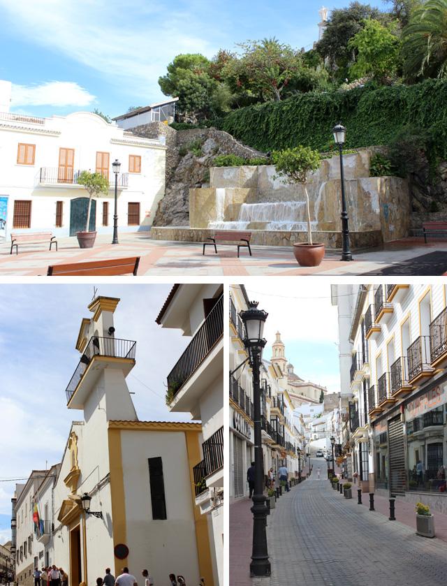 Plaza de Andalucía y Sagrado Corazón de Jesús (arriba), y calles de Olvera