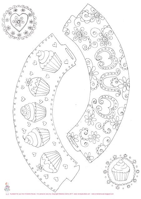 Wrappers y Toppers para Cupcakes para Colorear, para Imprimir Gratis.