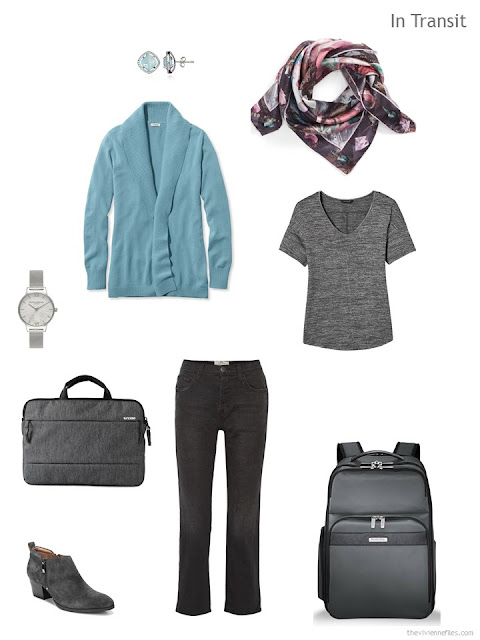 travel outfit in charcoal grey and soft teal for cool weather