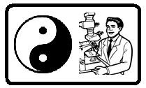 image of scientist looking at yin yang symbol