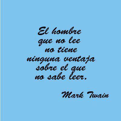 Meme con una cita de Mark Twain sobre la lectura