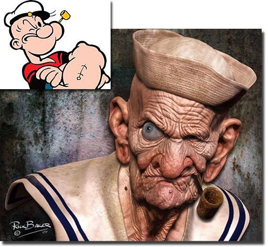Personagens de desenhos como se fossem de carne e osso - Popeye