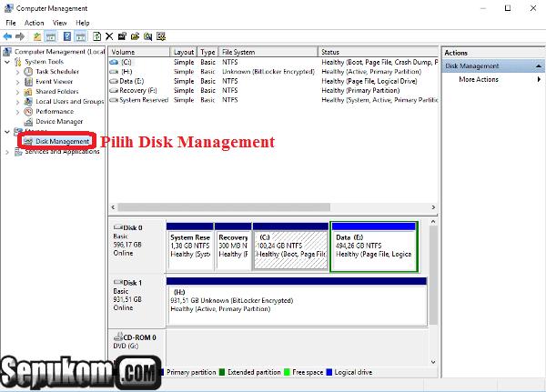 Lalu pilih tab disk management