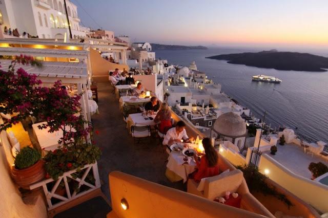 Restaurantes de lua de mel em Santorini