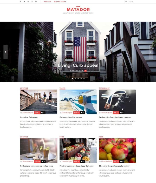 Matador responsive theme for news site