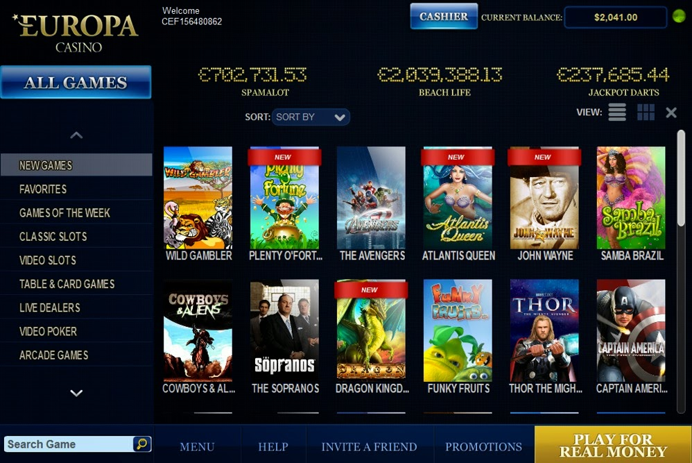 Europa Casino Home Screen