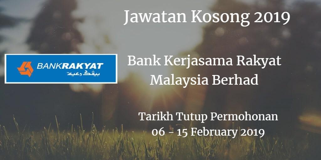 Jawatan Kosong Bank Kerjasama Rakyat Malaysia Berhad 06 - 15 February 2019