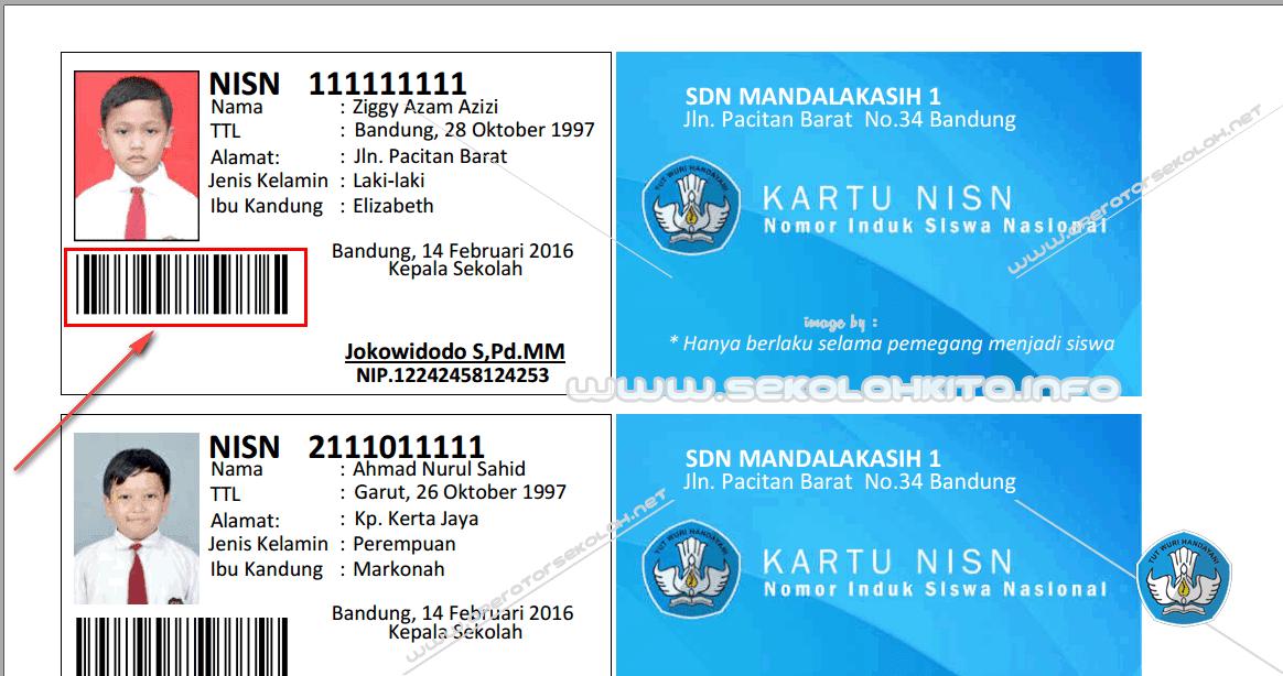 Aplikasi Cetak Kartu Nisn 2016 Fitur Barcode Import Data Excel Input Photo Nisn Card