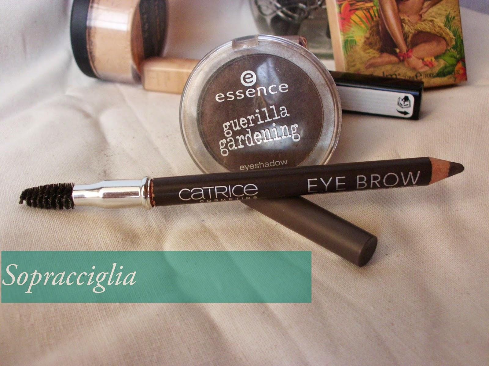Brow Sopraciglia makeup routine con Brow Stylist Catrice, Guerrila Gardening Essence