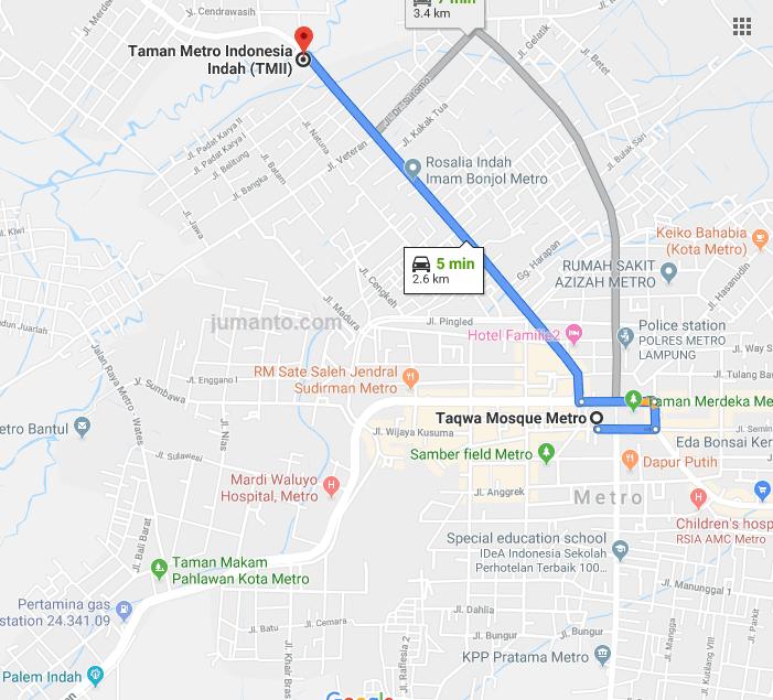 rute jalan menuju tmii kota metro lampung