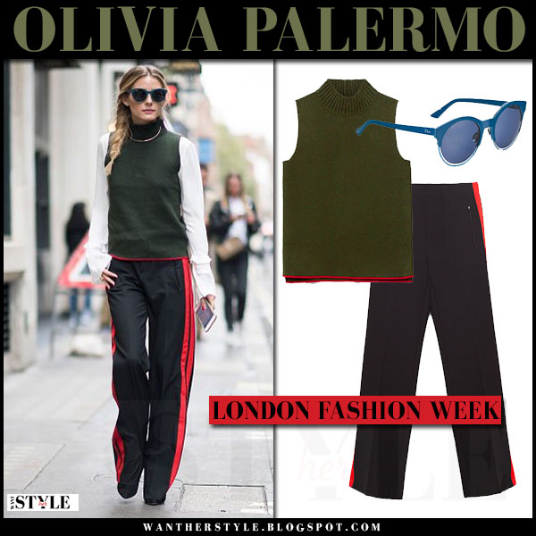 Olivia Palermo in khaki green sleeveless zara sweater, white shirt and black red stripe zara pants blue dior sunglasses london fashion week what she wore