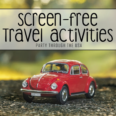 "Picture of a toy VW Bug car with text overlay that says ""Screen-Free Travel Activities"""