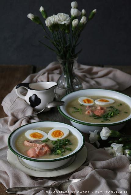 biały barszcz z warzywami, zupa z białych warzyw, biały barszcz z łososiem, zupa wielkanocna, wielkanocny obiad, co na Wielkanoc, dania wielkanocne, daylicooking