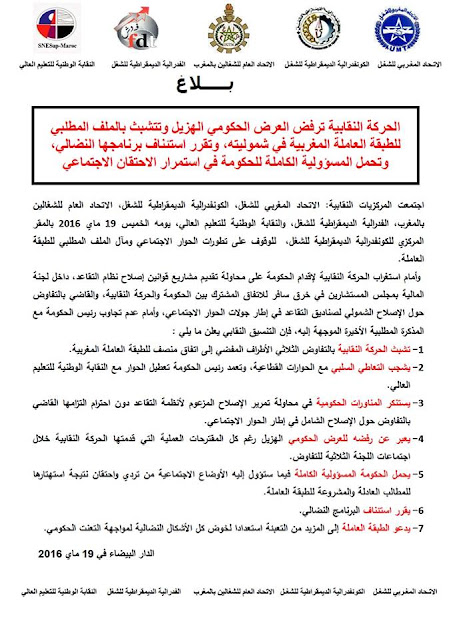 الحركة النقابية ترفض العرض الحكومي الهزيل وتتشبث بالملف المطلبي للطبقة العاملة المغربية في شموليته