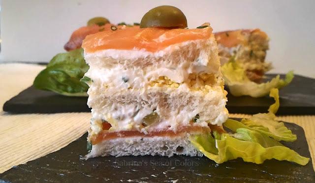 Receta de pastel de pan de molde y salmón ahumado