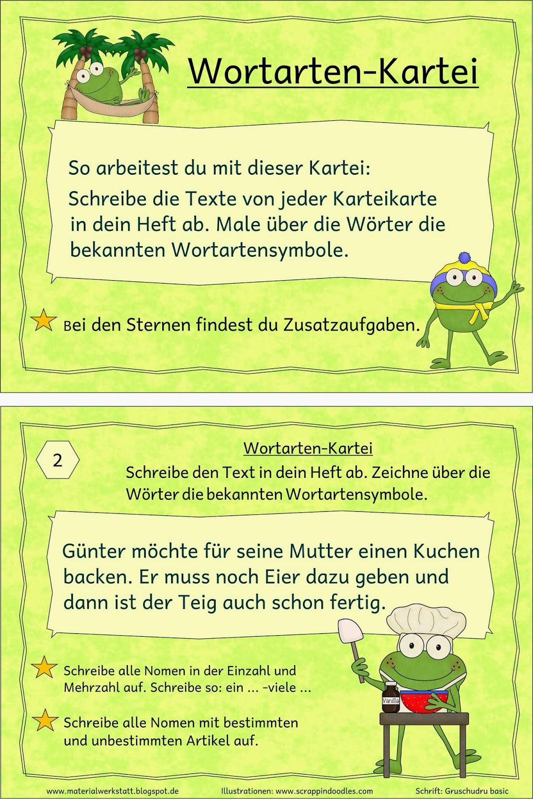 Materialwerkstatt wortarten kartei frosch - Frosch auf englisch ...